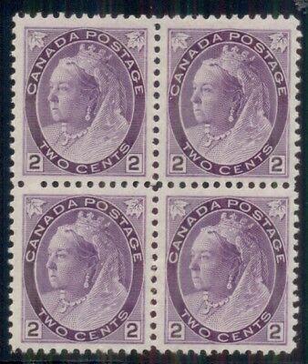 Block Of 4 Dickes Papier Intellektuell Kanada #76a 2¢ Violett 1nh/3h Vf Scott