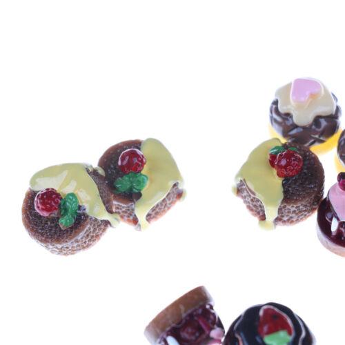 5pcs Dessert 3D Resin Vanilla Chocolates Cakes Miniature food Dollhouse Decor LY