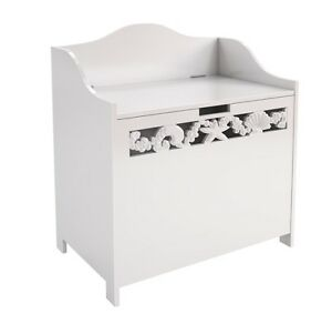 white bathroom ottoman storage chest towel cupboard wooden cabinet seconds ebay