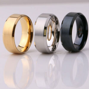 8MM-Stainless-Steel-Men-Women-Wedding-Engagement-Black-Gold-Ring-Band-Size-6-13