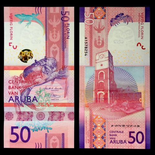 2019 ARUBA 50 FLORIN P-NEW UNC/> /> /> />3D STRIP CRAB WILLEM III TOWER FORT ZOUTMAN