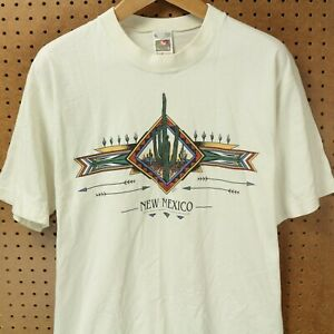 vtg-80s-90s-usa-made-New-Mexico-cactus-t-shirt-LARGE-indian-southwest-tourist