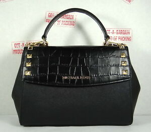 3a7a89a0ee82 Image is loading Michael-Kors-KARLA-Medium-Top-Handle-Leather-satchel-