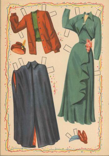 VINTGE 1952 NORA DRAKE PAPER DOLL RARE LASER REPRODUCTION ~Org SZ Uncut No1 SELR