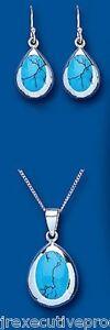 Fine Jewelry Sets Fine Jewelry Enthusiastic Turchese Set Argento Sterling Massiccio Ciondolo E Orecchini A Goccia Bracing Up The Whole System And Strengthening It