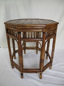 Rare-Chinese-Bamboo-Side-Table-Late-Qing-Dynasty-Hand-Made-with-8-Sided-Top