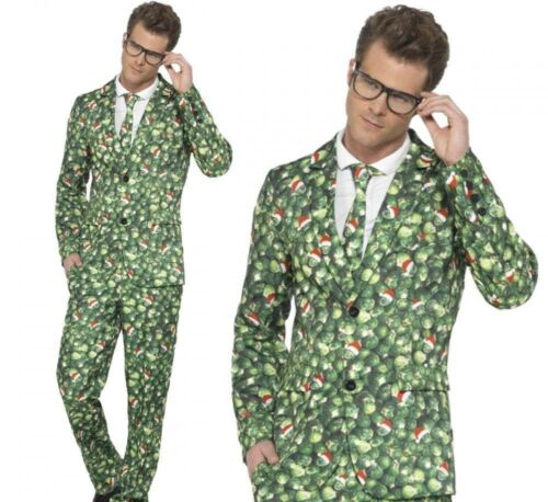Vestido de Disfraz Conjunto De Navidad Para Hombre Cool Brussel Sprout destacan Traje M-XL