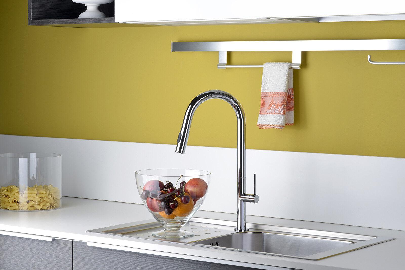 PAFFONI - Chef  - CH185cr MISCELATORE LAVELLO MONOFor ALTO doccia estraibile
