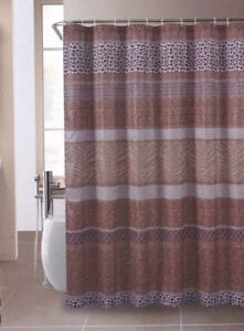 Image Is Loading Safari Leopard Zebra Brown Fabric Shower Curtain 70