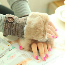 Women Warm Winter Faux Rabbit Fur Wrist Fingerless Gloves Mittens