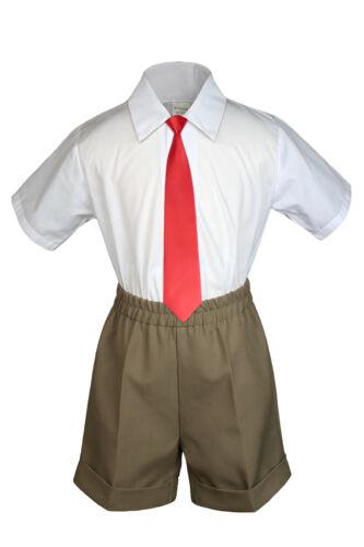 3pc Baby Boy Toddler Formal Red tie Black Brown White Navy  Khaki Shorts Set