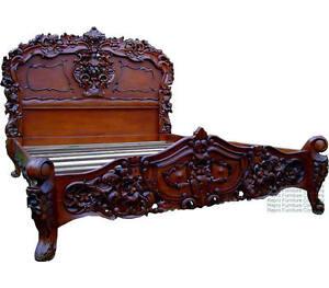 Rococo French Bed Mahogany King Size 5ft In Stock New Ebay