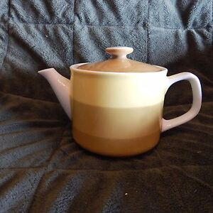 Vintage-Teapot-Yellow-And-Gold-Colors-Mid-Century-Retro-1970-039-s-Era