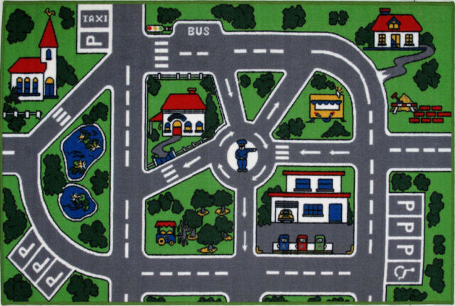 Fun Rugs Multi-Color Contemporary Streets Lanes Area Rug Pictorial FT-5019/96
