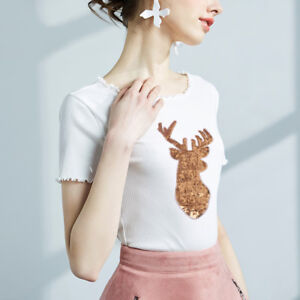 Christmas-Decorations-Elk-Gold-Deer-Sequin-Applique-Embroidery-iron-on-patcE-Fw
