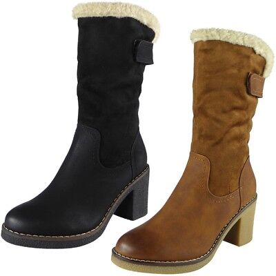 Womens Mid Calf Boots Ladies Faux Fur Lined Winter Zip High Heel New Shoes Size