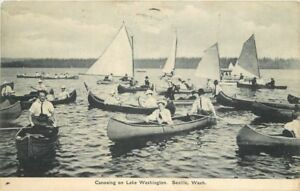 1907-Canoeing-Lake-Washington-Seattle-Washington-Postcard-Puget-Sound-12452