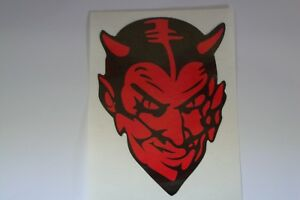 2  RED DEVIL  MOTORBIKE STICKERS   100mm x 70mm  IOM TT  HELMETS HONDA SUZUKI