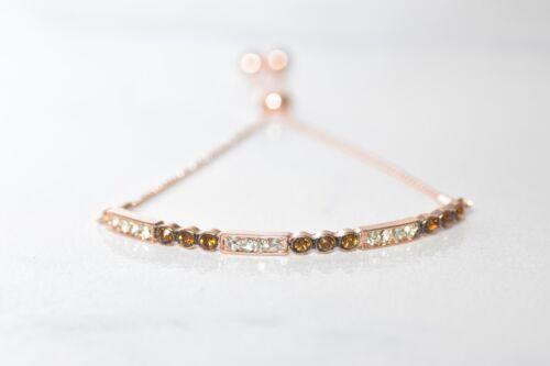 10kt or Jaune pour Femme Ronde Couleur Premium Brown cristal Bolo Bracelet cttw