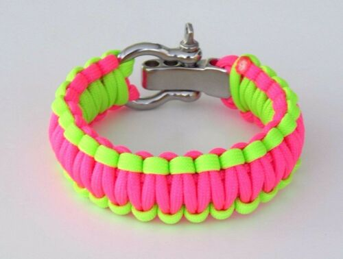 550 Paracord Survival Bracelet Neon Green And Pink Adj.S//S ShackleHand Made USA