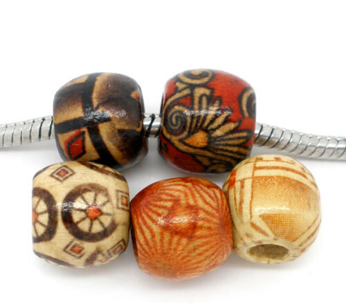 KUS 100 Mix Charm European Holzperlen Tube Muster Perlen Beads 11x12mm