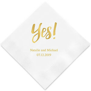 Wedding Cocktail Napkins.Details About 100 Yes Personalized Wedding Cocktail Napkins