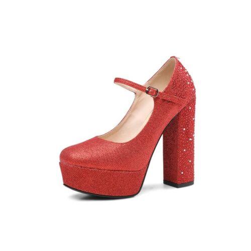 con Bombas alto Zapatos diamantes Brillo de para tacón cuero Correa mujer Tacones de Hebilla real de imitación 6wBtUxq