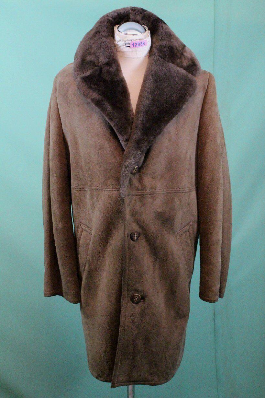 Edler Herren Lamm Fell Mantel echt Leder shearling ca 50/M-L vintage warm Winter