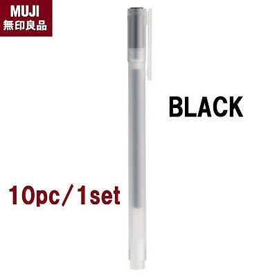 NEW MUJI Gel Ink Black Pen 10 set 0.38mm MoMa Stationary made in Japan