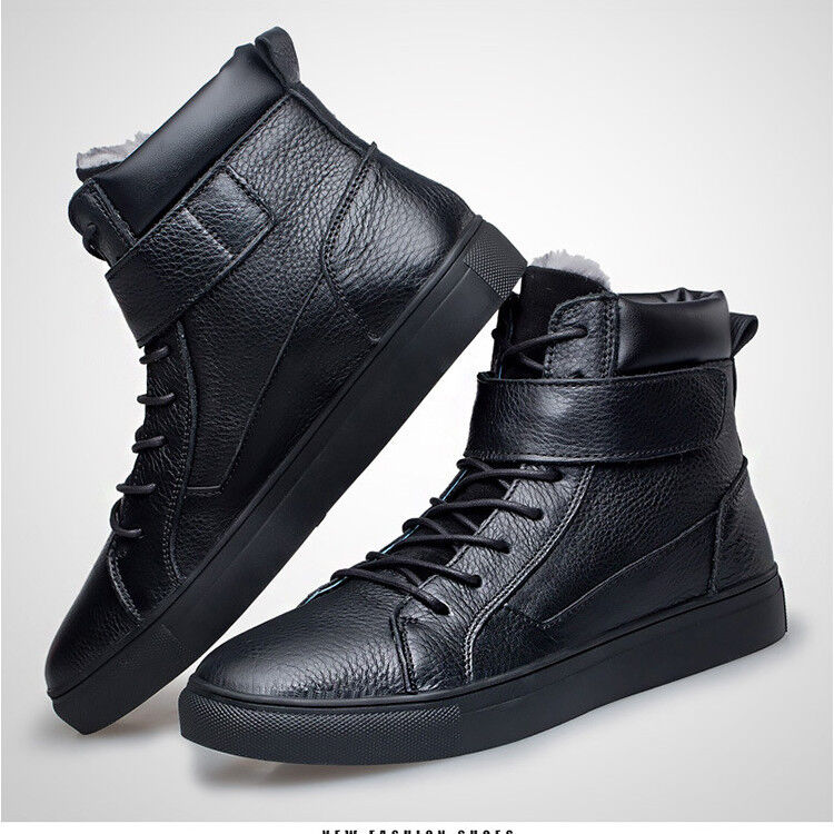 Men Leather High Top Warm Winter Boots Fur Lining Smart Casual shoes US7.5-13 1