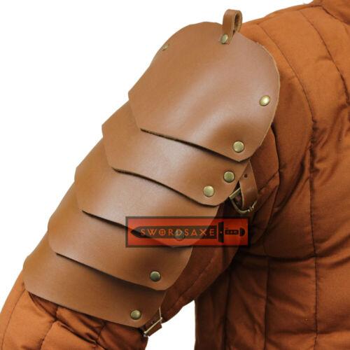 Pauldrons LARP Costume Genuine Leather Spaulders Medieval Shoulder Armor
