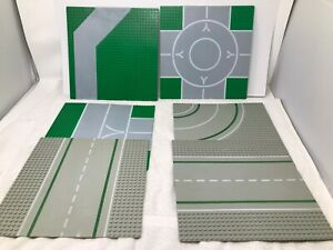 LEGO-Lot-of-6-Vintage-Light-Gray-Green-City-Town-Airport-Road-Baseplate-32x32
