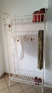 Details zu Garderobe Vintage shabby chic antikweiß Kleiderständer Ständer  Ablagen Diele