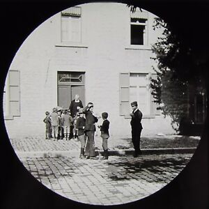 Glass-Magic-Lantern-Slide-ROCHEFORT-SCHOOL-NO1-C1890-VICTORIAN-PHOTO-FRANCE
