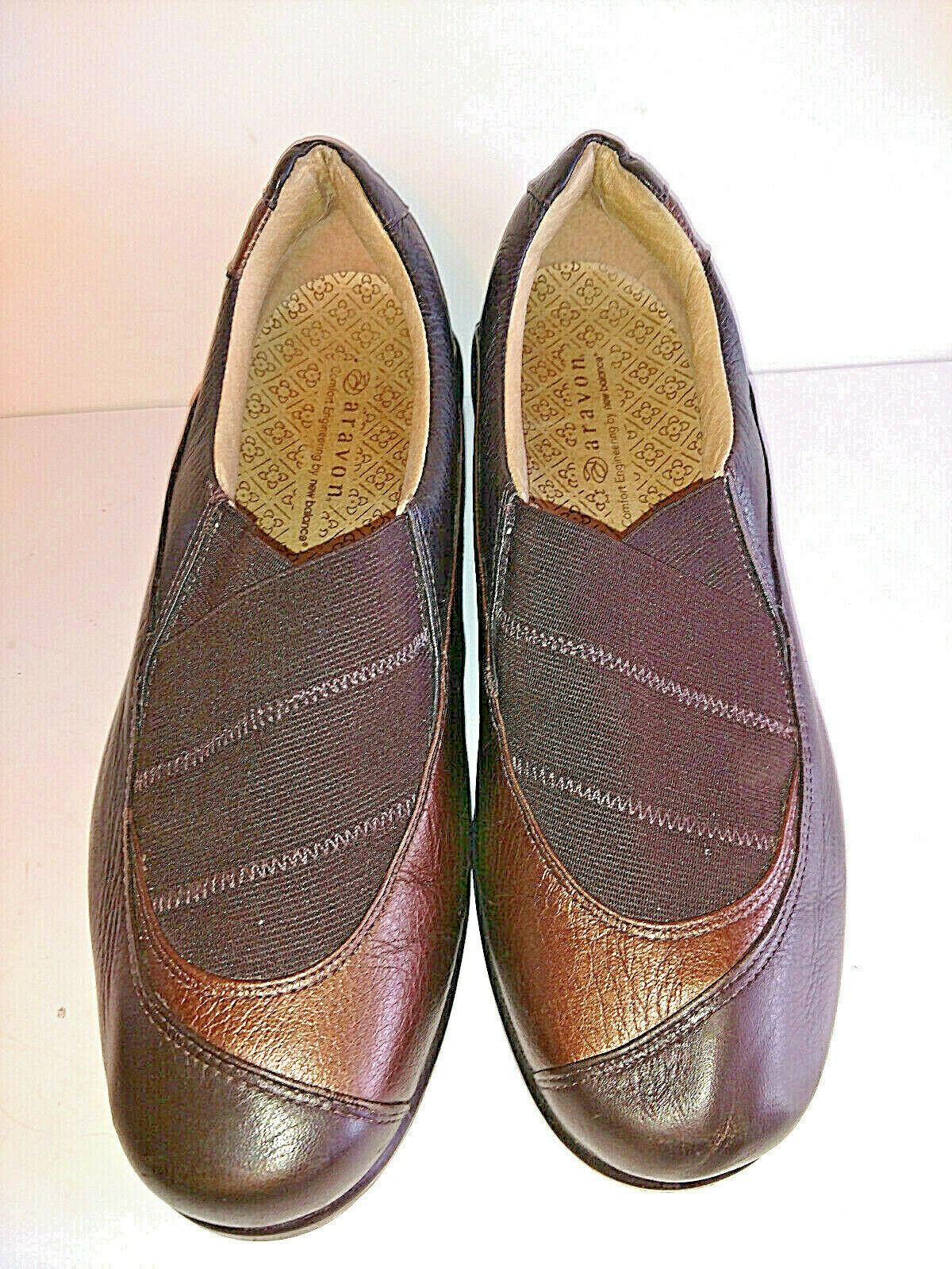ARAVON by NEW BALANCE Womens shoes 8.5M 8.5 M Slip On Loafers Brown Leather