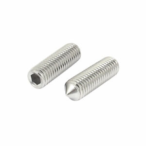 M12x40mm-1-75mm-Pitch-Stainless-Steel-Cone-Point-Hexagon-Socket-Grub-Screws-2pcs