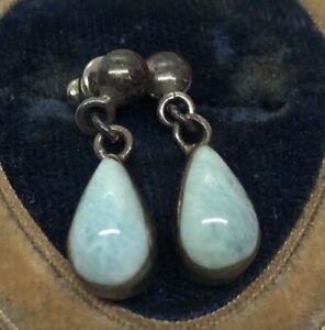Vintage-Sterling-Silver-Earrings-925-Larimar-Dangle-Blue-Stone