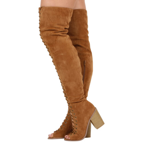WOMENS LADIES OVER THE KNEE LACE UP HIGH BLOCK HEEL PEEPTOE BOOTS SHOES SIZE 3-8
