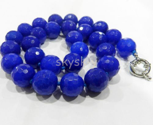 """Fashion 10 mm SAPHIR BLEU à Facettes Gems Round Beads Necklace 18/"""""""