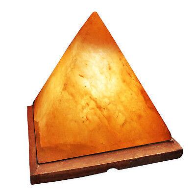 Natural Himalayan Pyramid Salt Lamp on Wood Base Crystal Allie