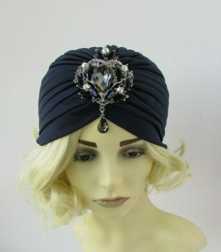 Bleu Marine Bleu Noir Gris Strass Turban Coiffe style VINTAGE strass HAT 0381
