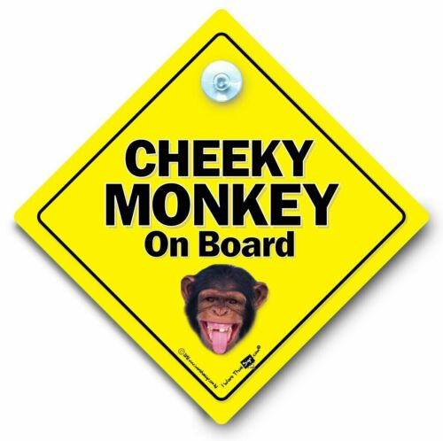 Ventosa Coche Firmar chimpancé bebé a bordo de signo Cheeky Monkey A Bordo Coche Firmar