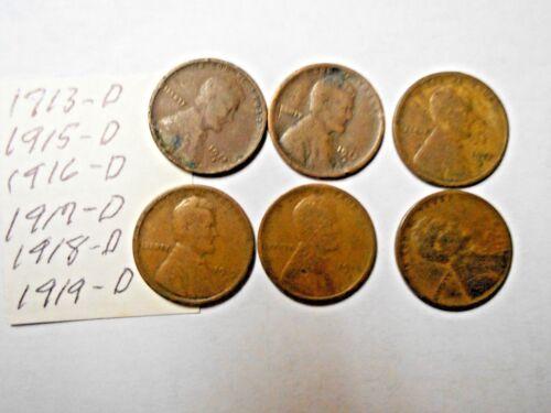 1913-D,1915-D,1916-D,1917-D,1918-D,1919-D LINCOLN WHEAT CENT LOT