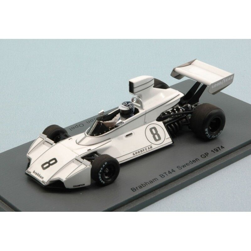 SPARK Model s4786 BRABHAM BT44 r.von OPEL 1974 n. 8 9o Svezia GP 1:43 DIE CAST