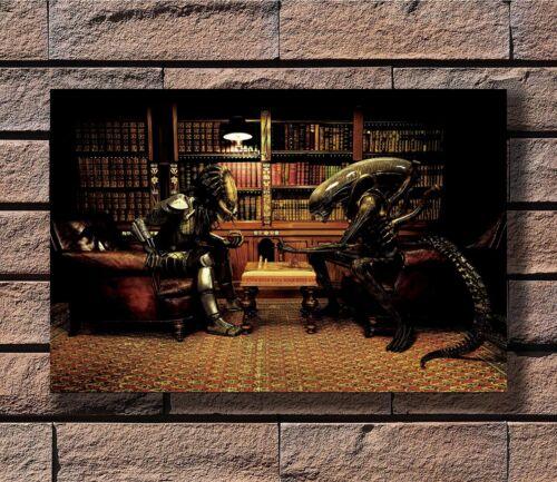 Alien VS Predator Play Chess Movie T-109 Art Poster 24x36 27x40