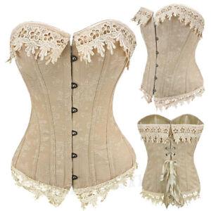 sexy vintage cream pink victorian floral corset basque