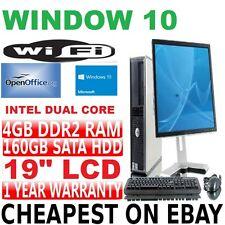 Completo Dell Torre De Escritorio Dual Core Pc y tft ordenador con Windows 10 y WiFi y 4GB