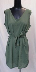 Boohoo-Women-039-s-Tie-Waist-Woven-Shift-Dress-LP7-Olive-Size-US-10-UK-14-NWT