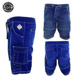 9cab7cc084a Men s Kam Big Size Denim Cargo Elastic Rib Waist Casual Shorts 42 44 ...
