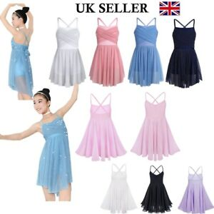 UK-Girls-Lyrical-Ballet-Dance-Dress-Ballroom-Gymnastics-Leotard-Skirt-Dancewear